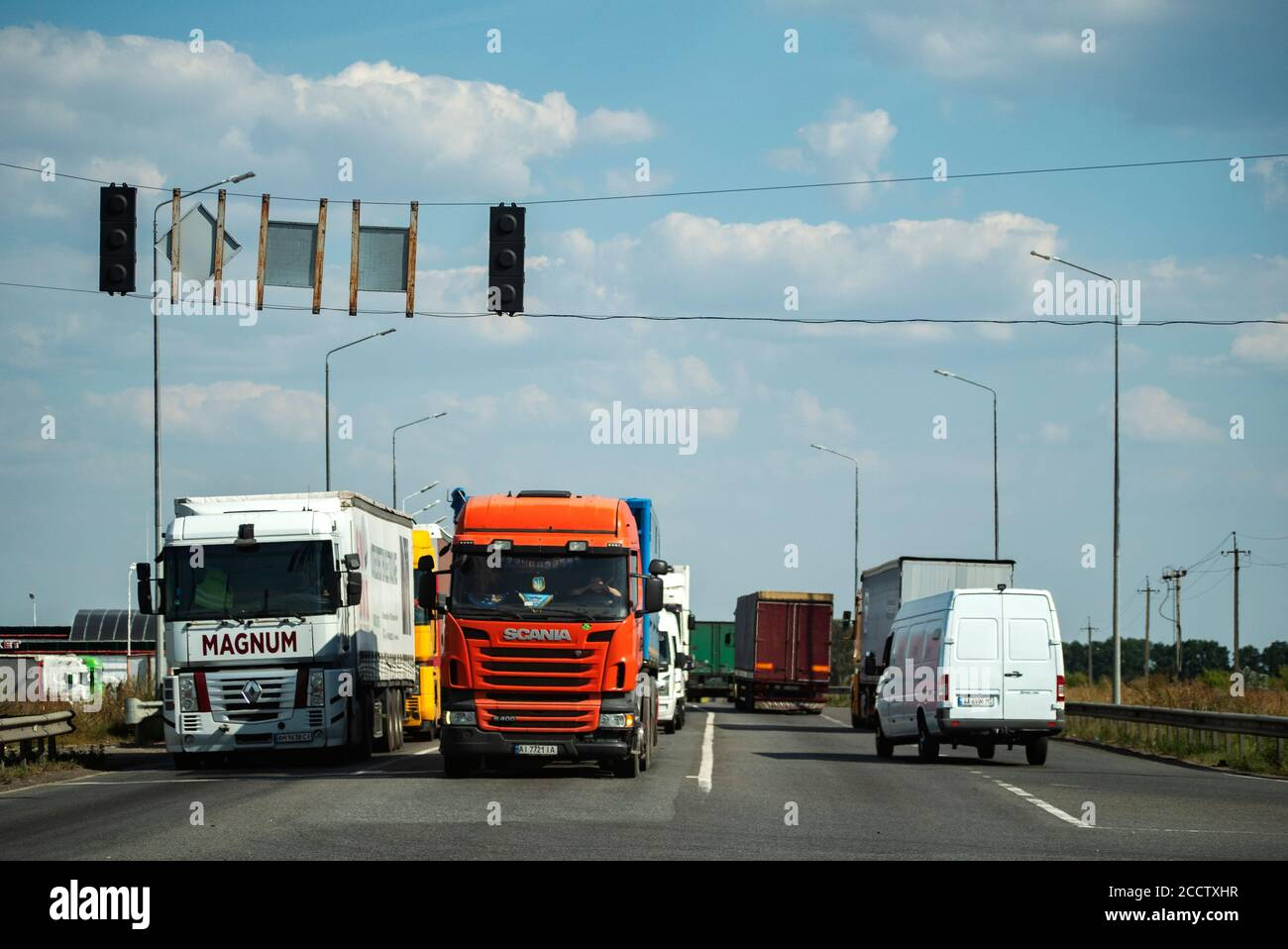 renault magnum high resolution stock photography and images alamy https www alamy com renault magnum and scania trucks on the highway near kiev image369310253 html