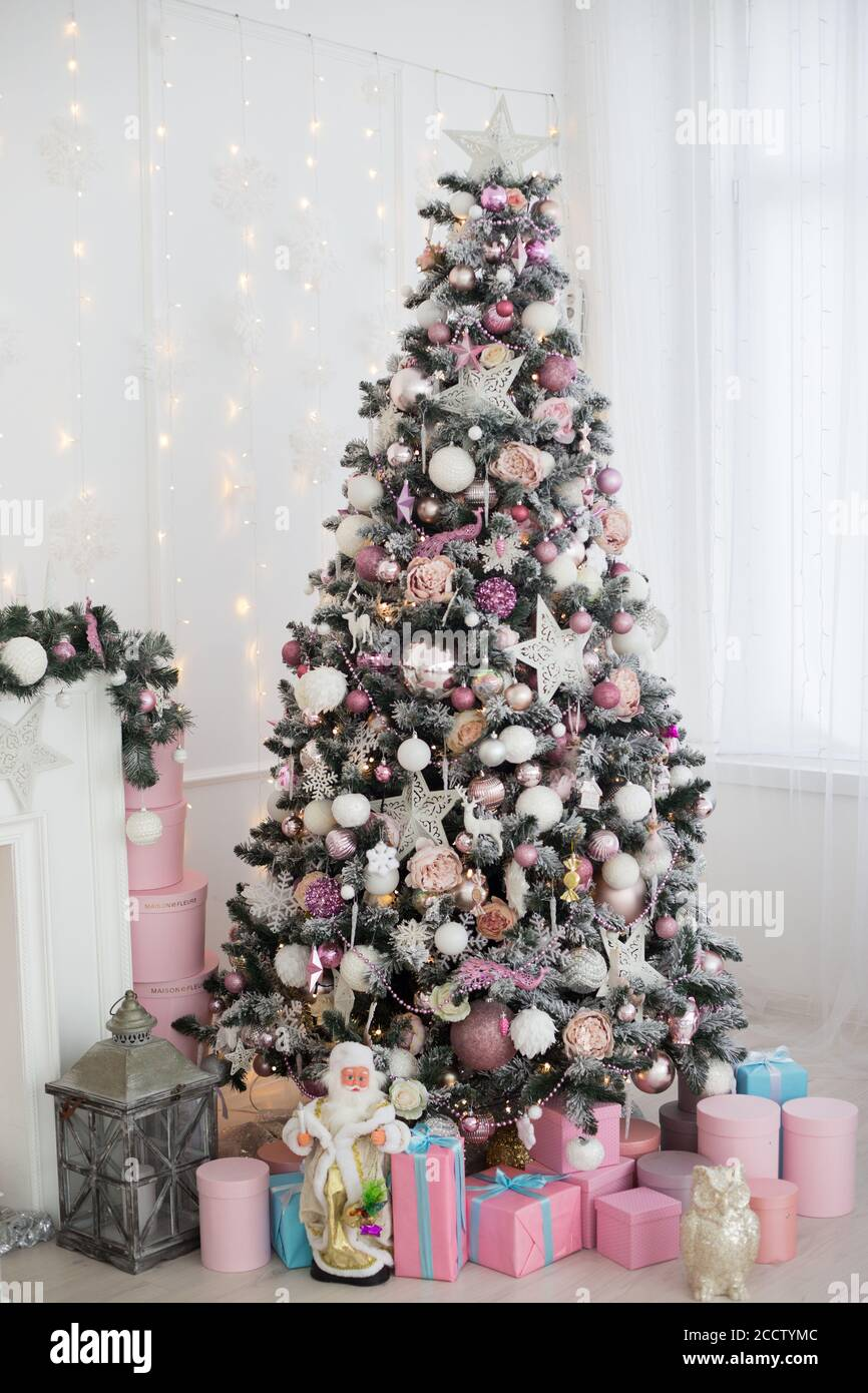Green And White Christmas Tree With Pink Toys New Year Winter Gifts Decor Stock Photo Alamy