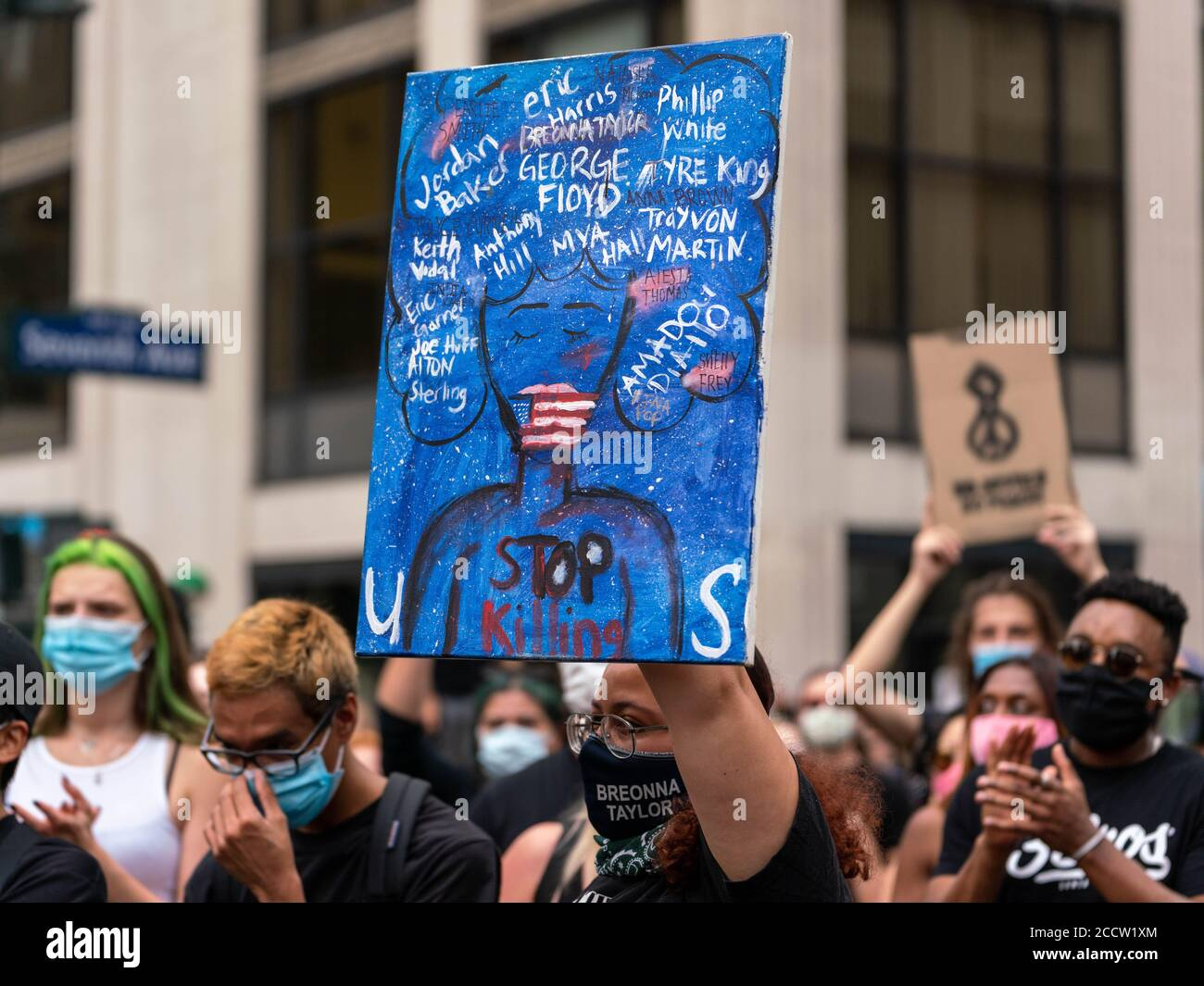 New York, New York, USA. 24th Aug, 2020. New York, New York, U.S.: demonstrators march in Midtown in solidarity with Jacob Blake who was shot and critically injuredby a Kenosha Police Department officer on Sunday. Credit: Corine Sciboz/ZUMA Wire/Alamy Live News Stock Photo