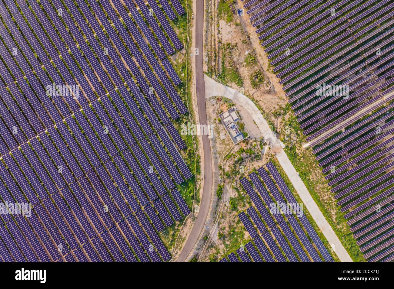 Aerial view of the solar panel in solar farm for green energy Stock Photo