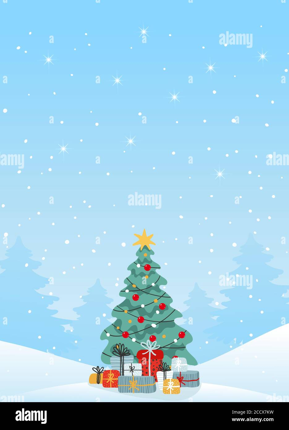 Modern Christmas Card With Copy Space Decorated Christmas Tree With Gifts On The Background Of A Winter Landscape Winter Snowfall Flat Vector Illustration For Design Stock Vector Image Art Alamy