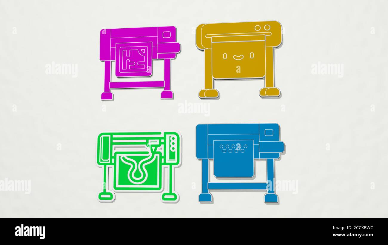 plotter colorful set of icons, 3D illustration Stock Photo
