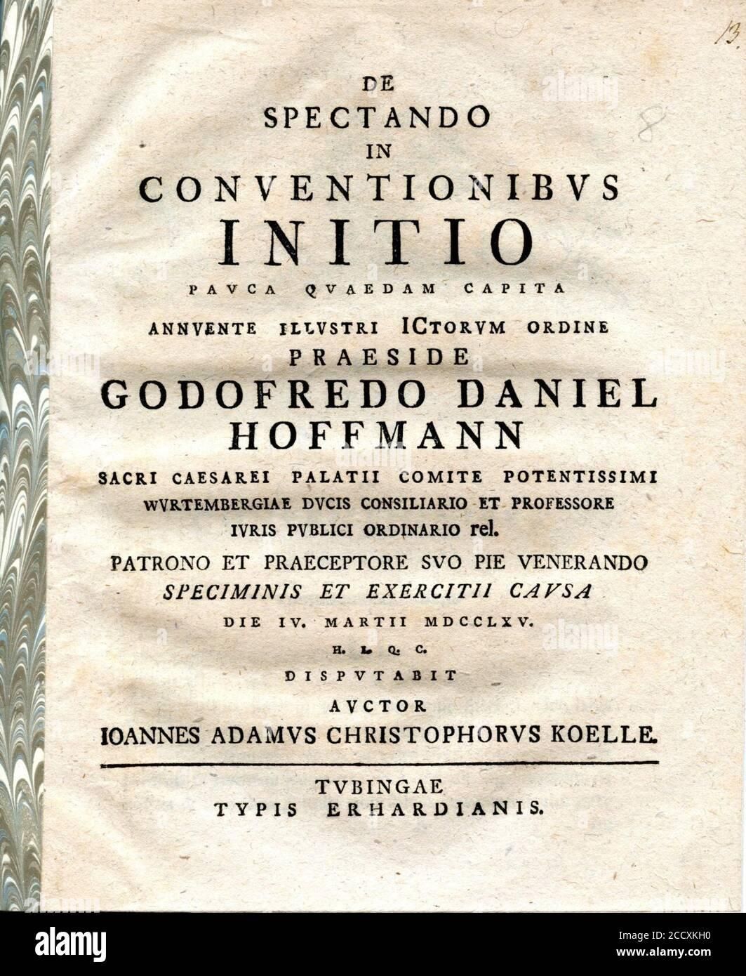 Johann Adam Christoph Koelle Dissertation. Stock Photo