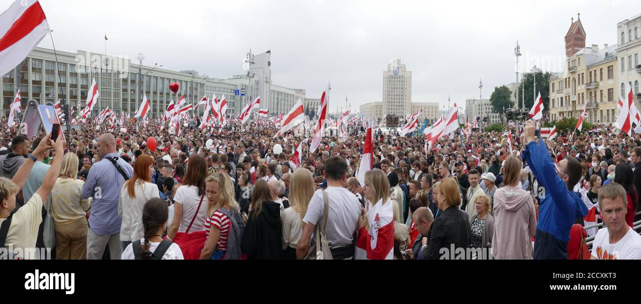 Minsk, Belarus - August 23, 2020. Peaceful protest actions against the current government after the presidential election in Belarus. Stock Photo