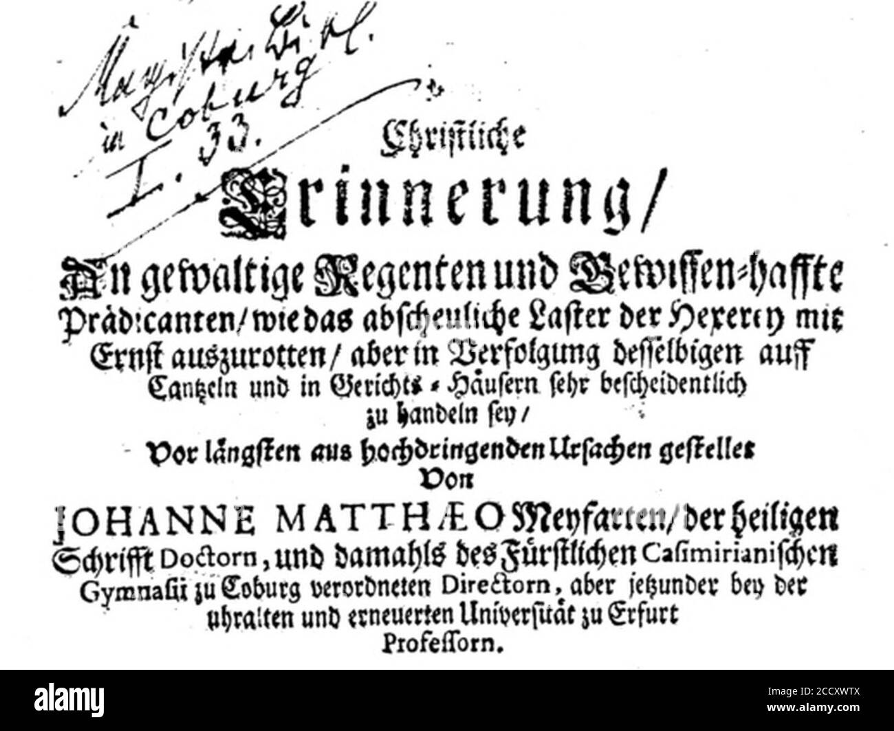 Johann Matthäus Meyfart Buch. Stock Photo