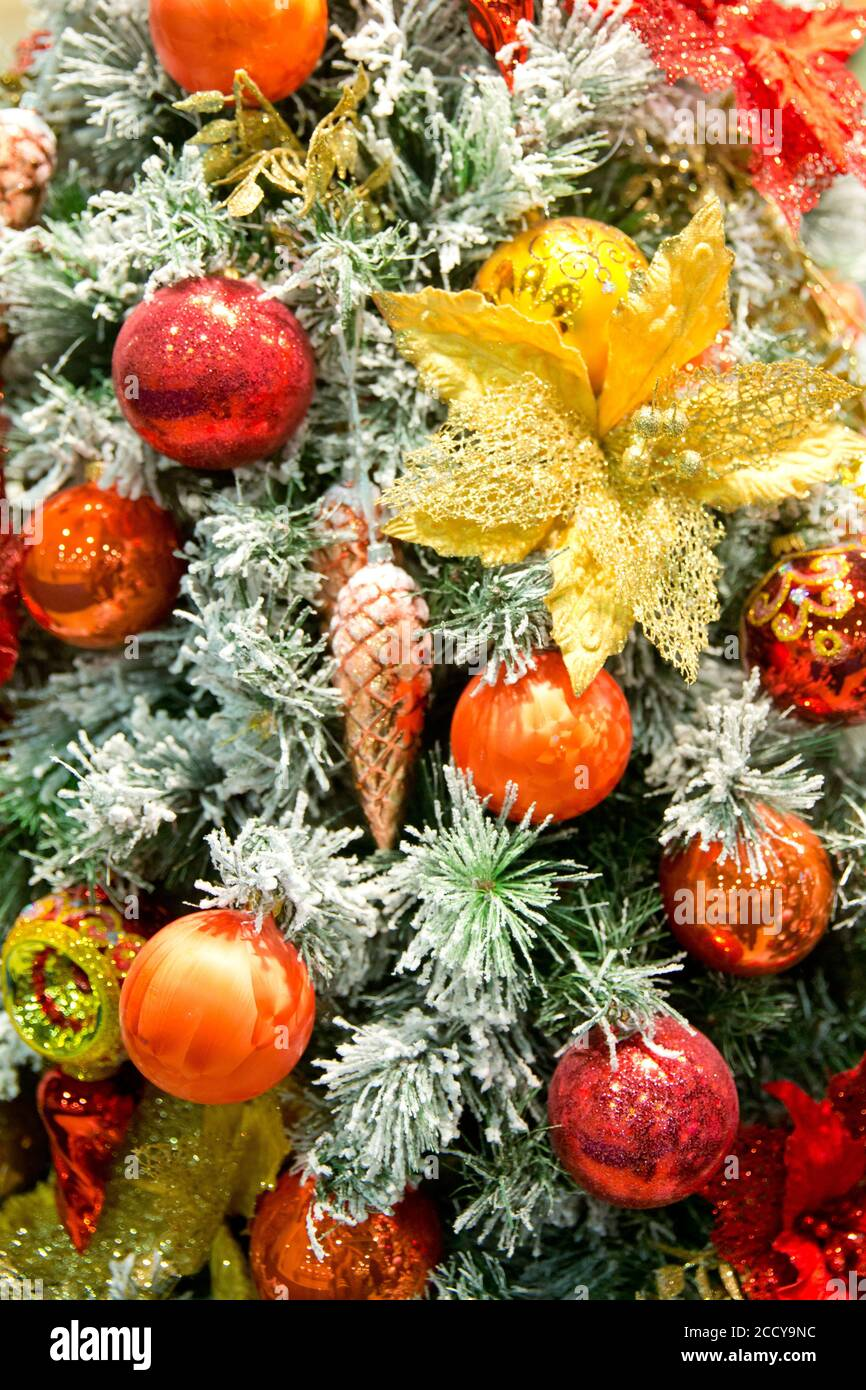 Christmas Tree Decorations Red Christmas Ball Hanging On Green Pine With Red And Gold Ornaments And Lights Stock Photo Alamy