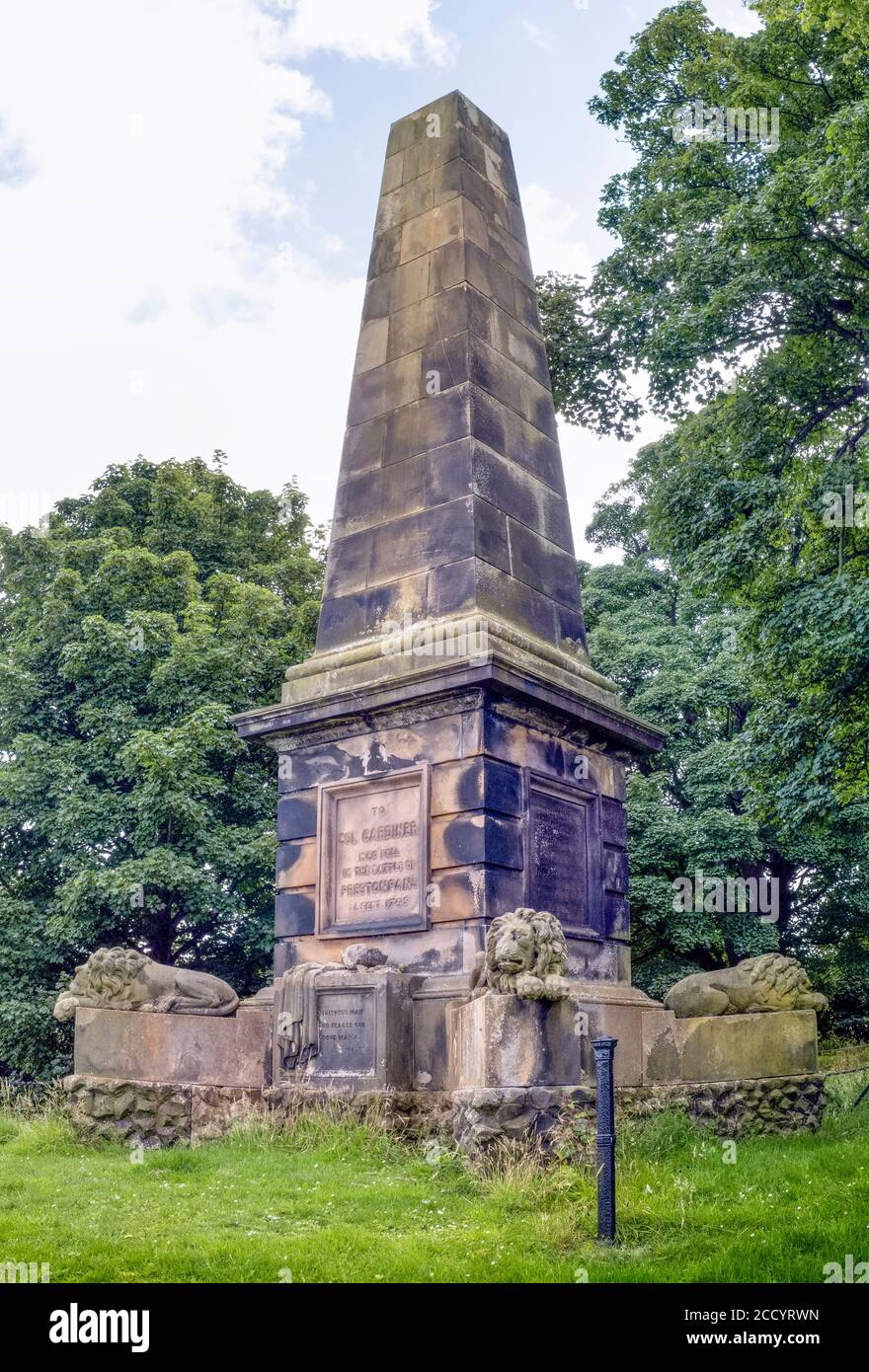 Memorial to Colonel James Gardiner who died at the Battle of Prestonpans, East Lothian, Scotland, UK. Stock Photo