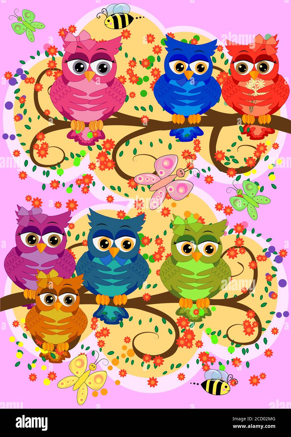 Three cute colorful cartoon owls sitting on tree branch with flowers. Funny sticker of birds on white background. Stock Vector