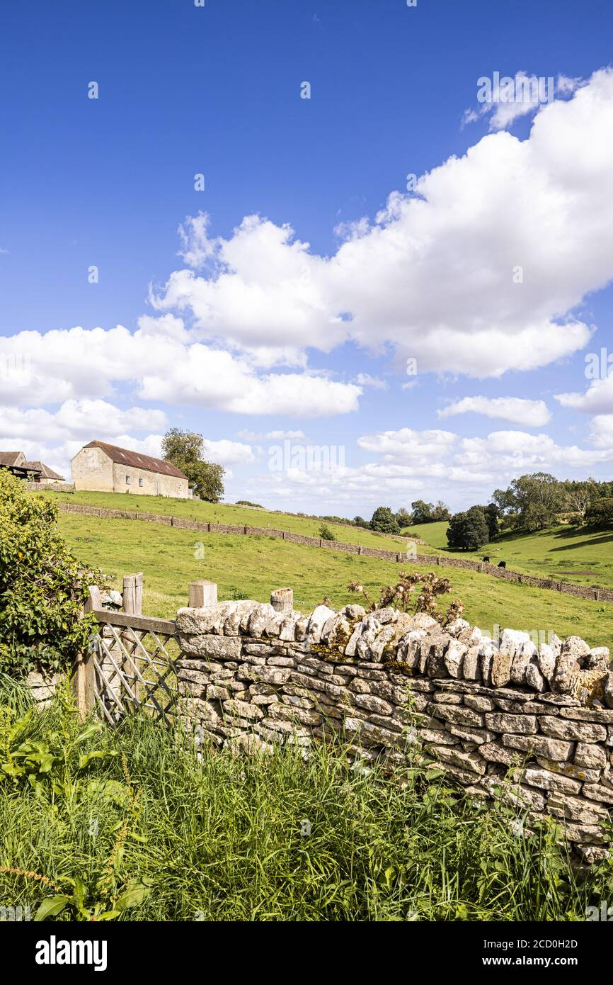 A summer landscape from the Cotswold village of Calmsden Gloucestershire UK Stock Photo