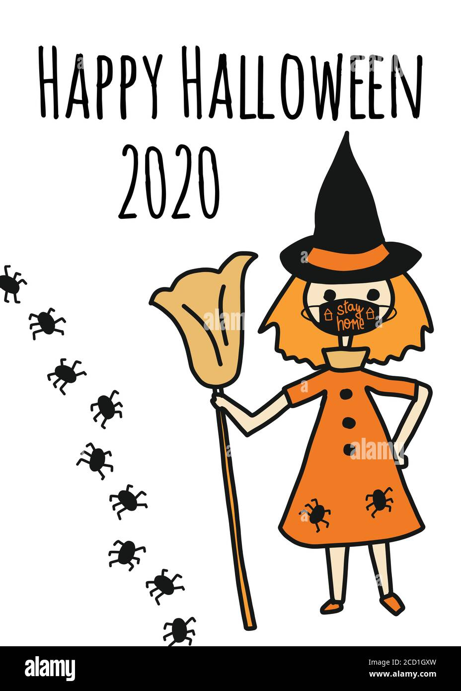 Halloween Template 2020 Happy Halloween 2020 greeting card template. Witch wearing a face