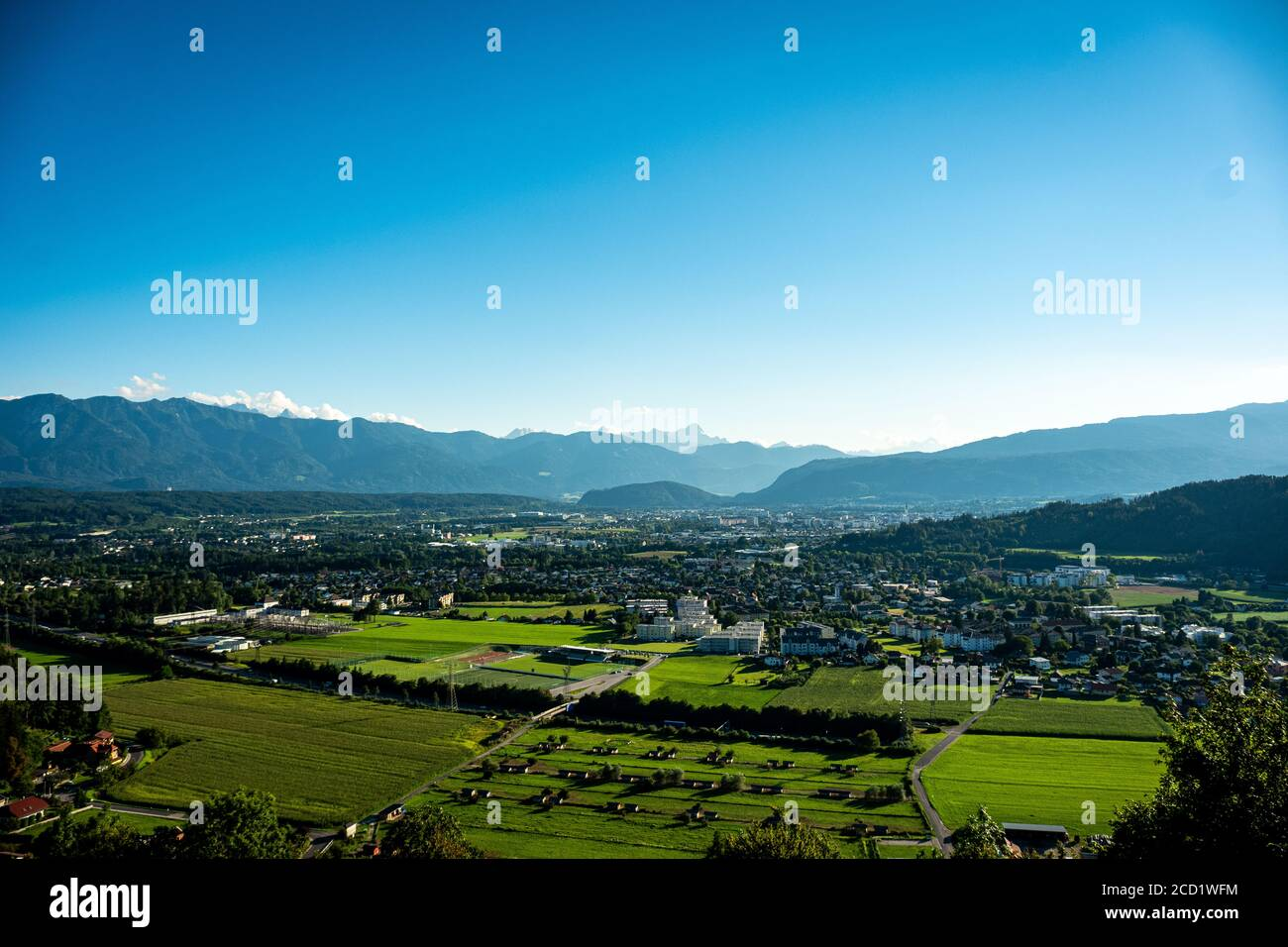 View towards Villach from Landskron Castle Stock Photo