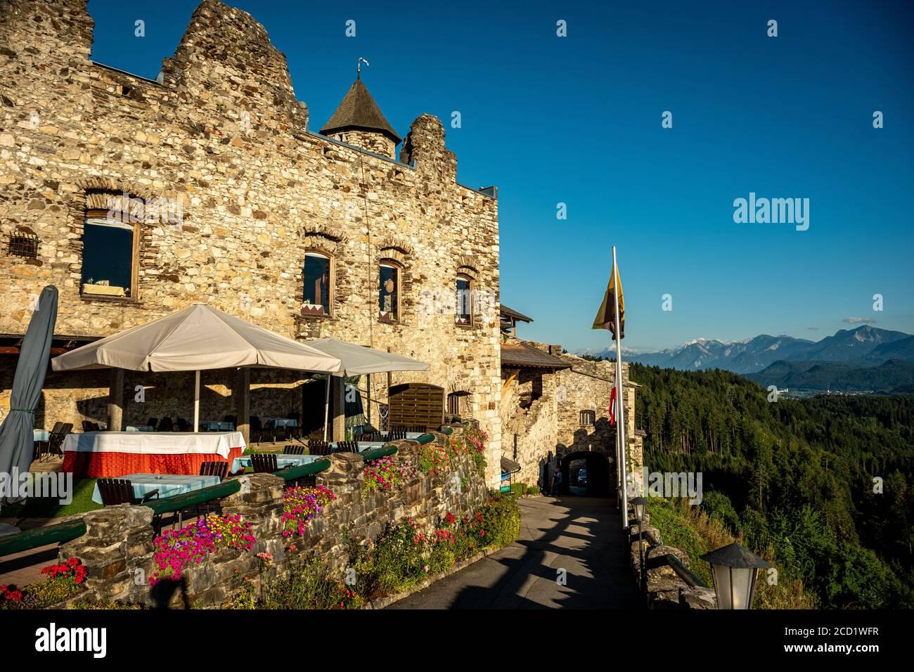 Restaurant of Landskron Castle Stock Photo