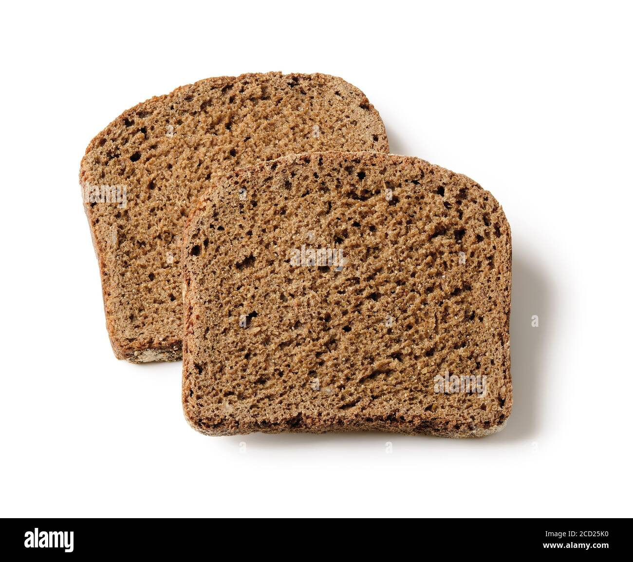 Two Rectangular Slices Of Fresh Rye Bread Isolated On White Background Low Calorie Whole Grain Sourdough Bread Baking Of Dough And Healthy Eating Stock Photo Alamy