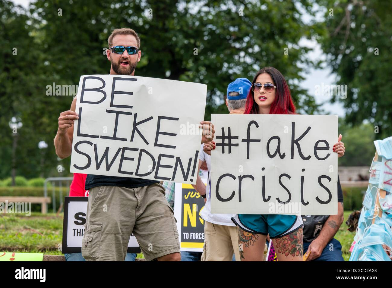 St. Paul, Minnesota. Protest to unmask Minnesota.  Protesters not wearing masks rally to undo the mandatory mask wearing put in place by governor Walz Stock Photo