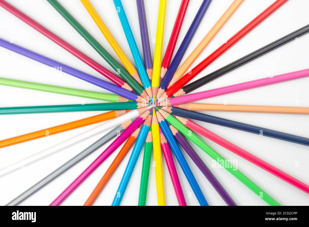 Colored pencils for drawing on a white background. Education and creativity. Leisure and art Stock Photo