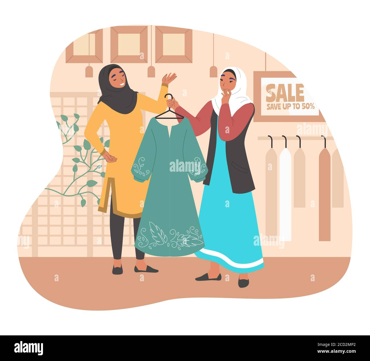 Happy muslim girl shopping in women clothing store, flat vector illustration Stock Vector