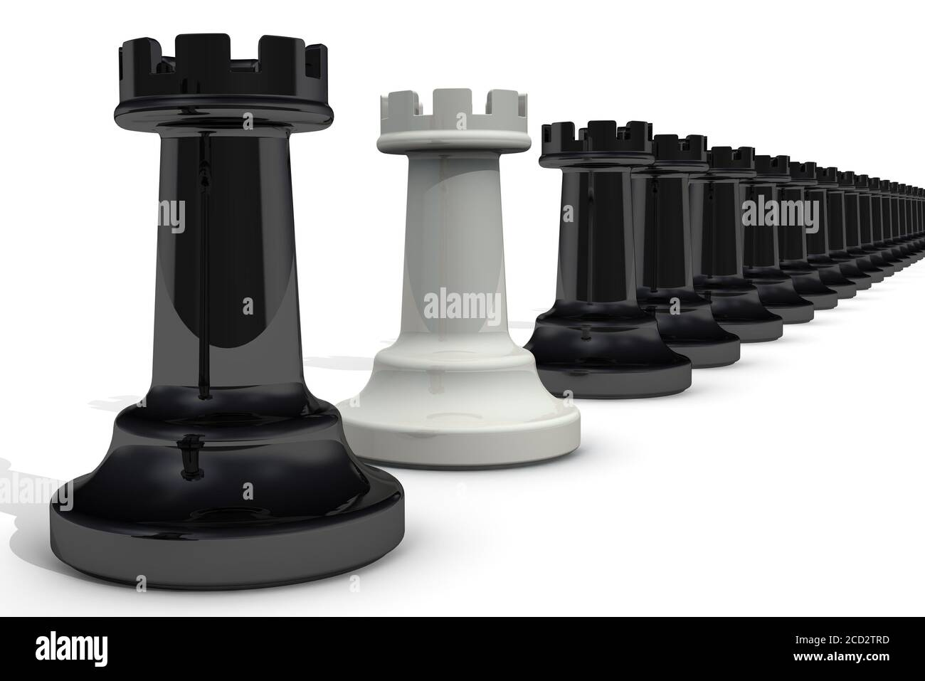 White rook among blacks. Chessmen. One white rook in a row of blacks. The concept of betrayal. 3D illustration Stock Photo