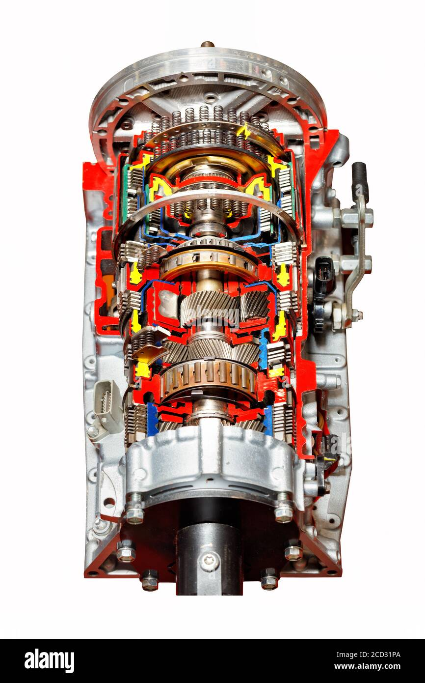 A Cutaway Automatic Transmission Of A Modern Car Is Presented At The Exhibition Stand The Image Is Isolated On A White Background Stock Photo Alamy