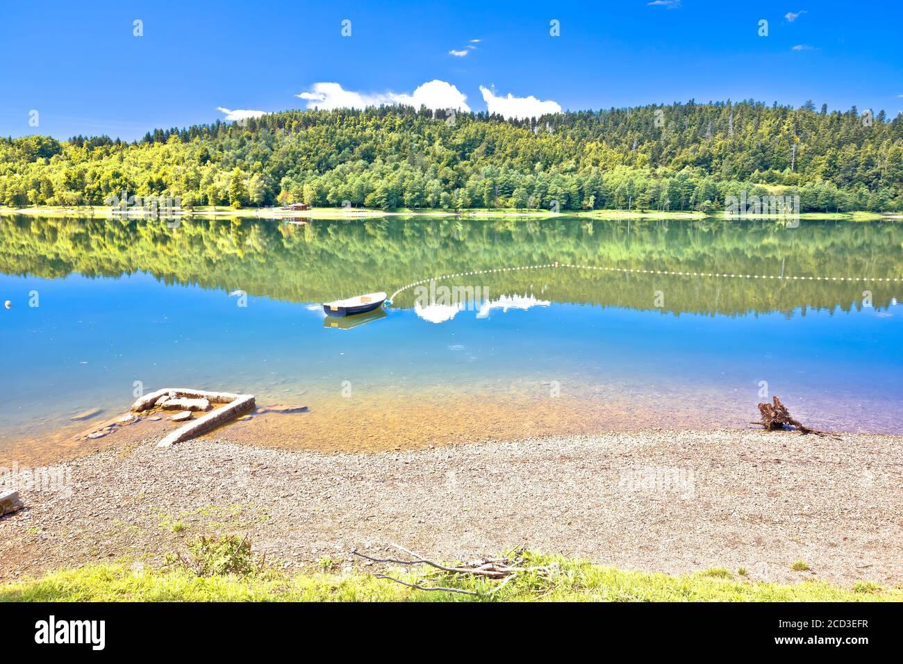 Bajer lake beach in Fuzine view, Gorski kotar region of Croatia Stock Photo