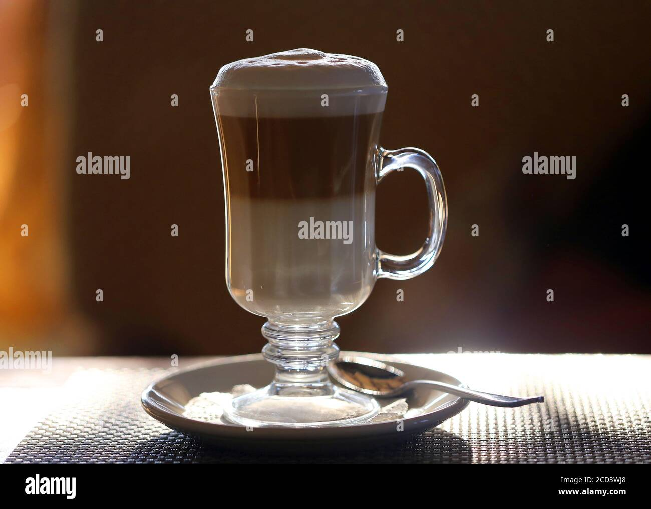 Photo Of A Beautiful Latte Coffee On The Table In A Cafe Advertising Background Of Coffee In A Restaurant Stock Photo Alamy