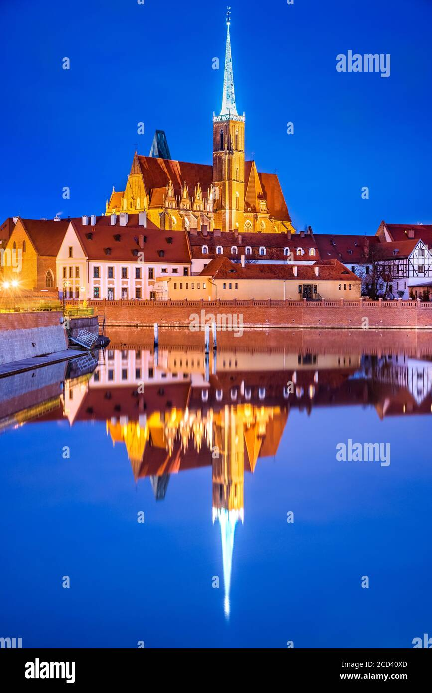 Wroclaw, Poland. Historical Cathedral Island in the Wroclaw old town with Oder River water reflection. Stock Photo