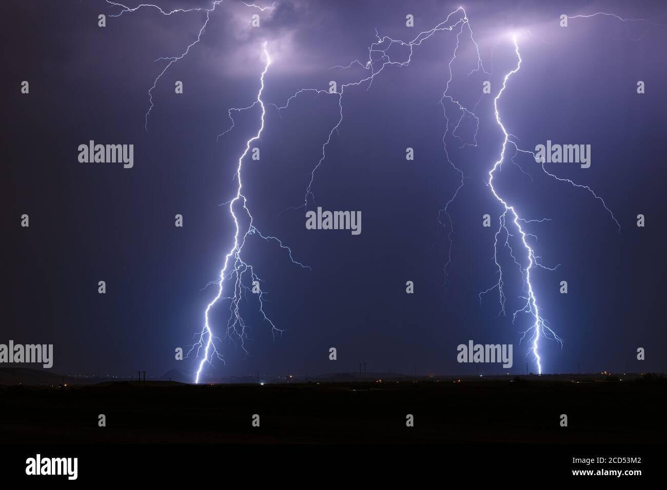 Lightning storm over Florence, Arizona. Stock Photo