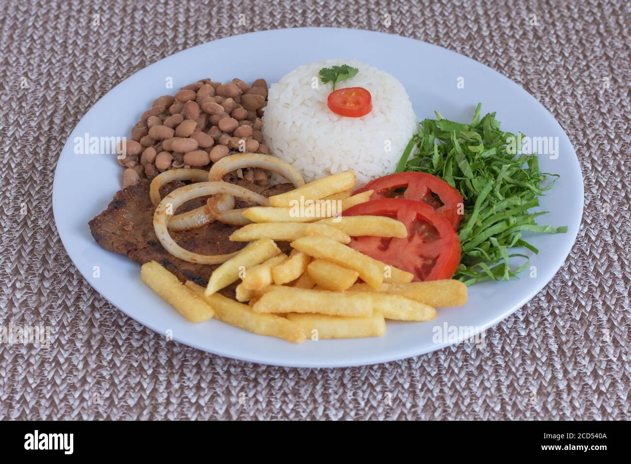 Brazilian Food Dish Beans Rice Meat Chips Cabbage Tomatoes Onions Executive Dish Dish Done Top View Stock Photo Alamy