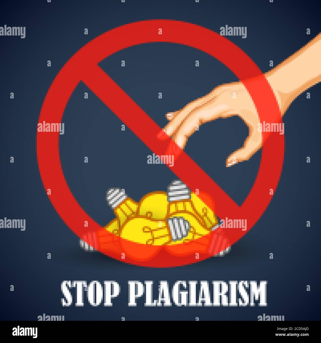 Stop Plagiarism, stealing and copying ideas and thoughts from original and authentic concepts Stock Vector