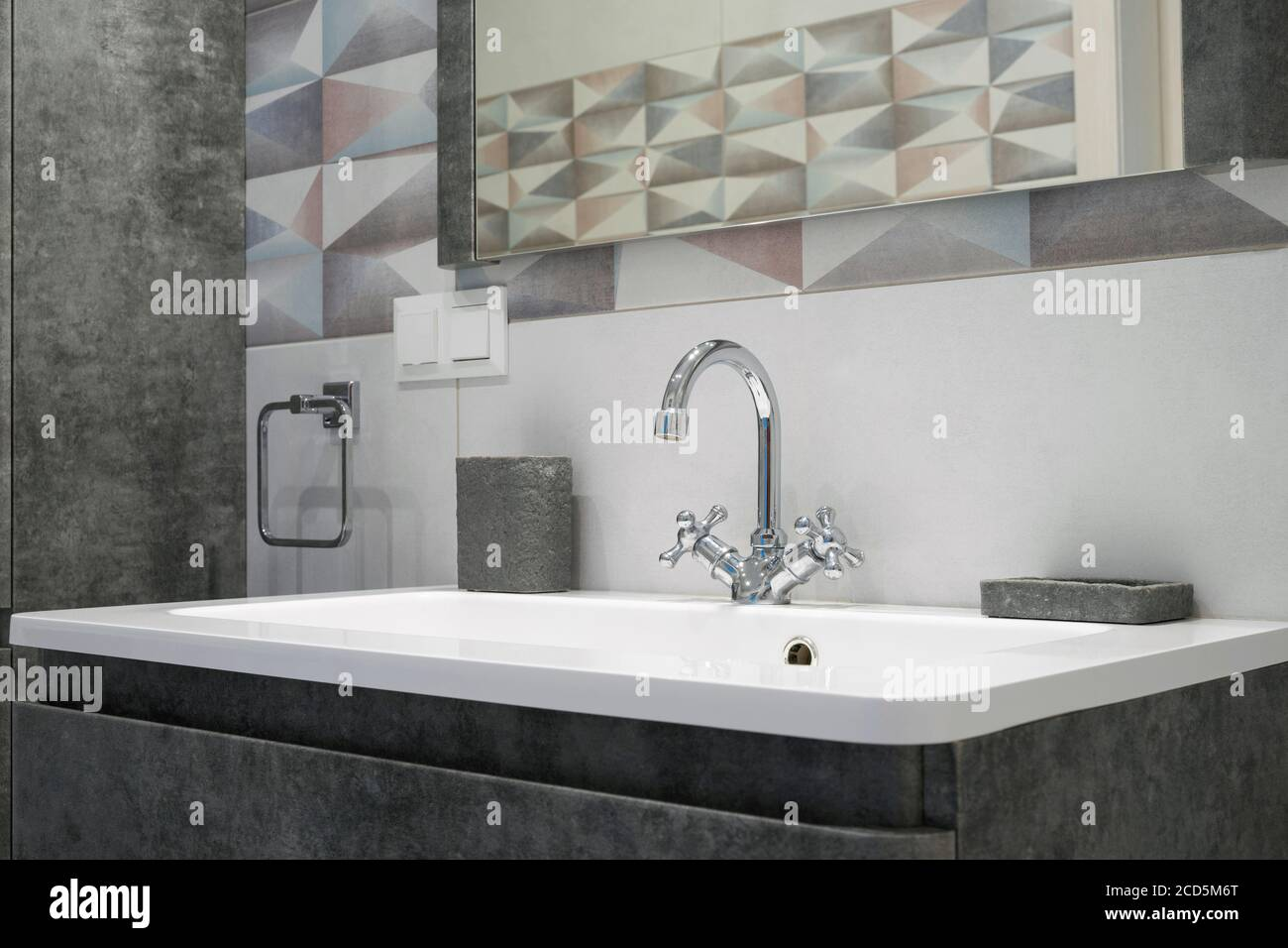 Modern Bathroom Interior With Metal Faucet And Ceramic White Sink Bath Accessories And Mirror Stock Photo Alamy