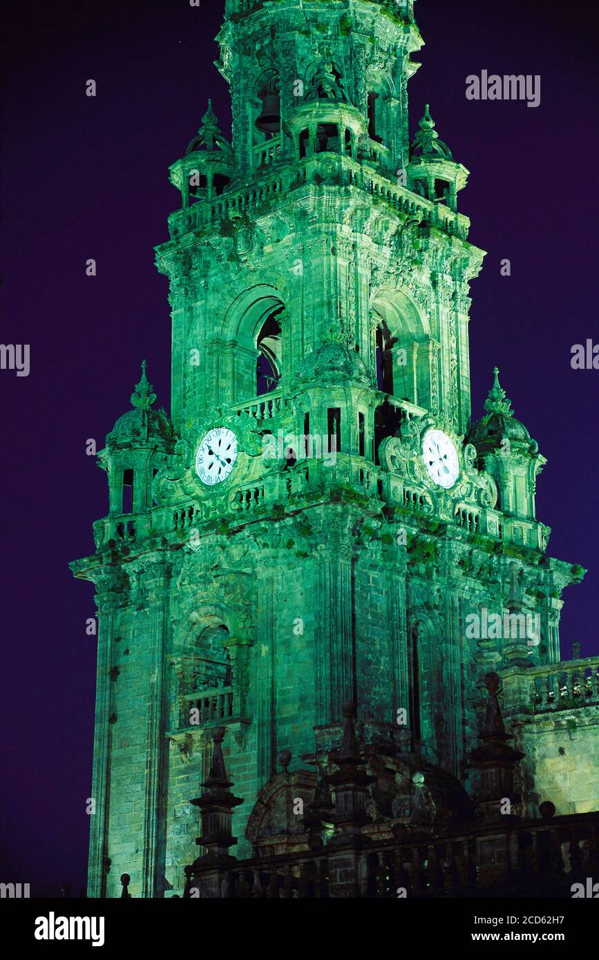 Clock tower of Santiago De Compostela Cathedral at night, Santiago De Compostela, Galicia, Spain Stock Photo