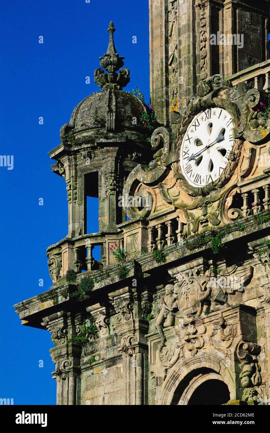 Clock tower of Santiago De Compostela Cathedral, Santiago De Compostela, Galicia, Spain Stock Photo