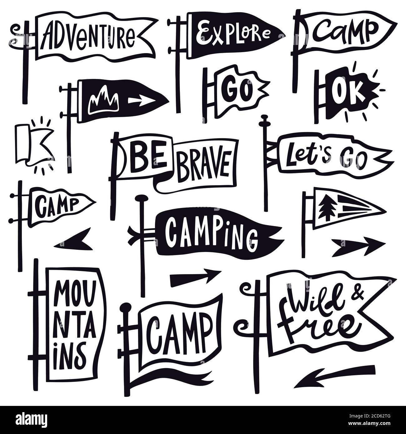 Adventure hiking pennant. Hand drawn camping pennant flag, vintage lettering flags, tourist quotation pennants vector illustration icons set Stock Vector