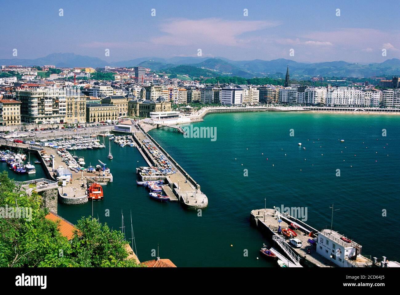 Coastal city of San Sebastian with harbor, Basque Country, Spain Stock Photo