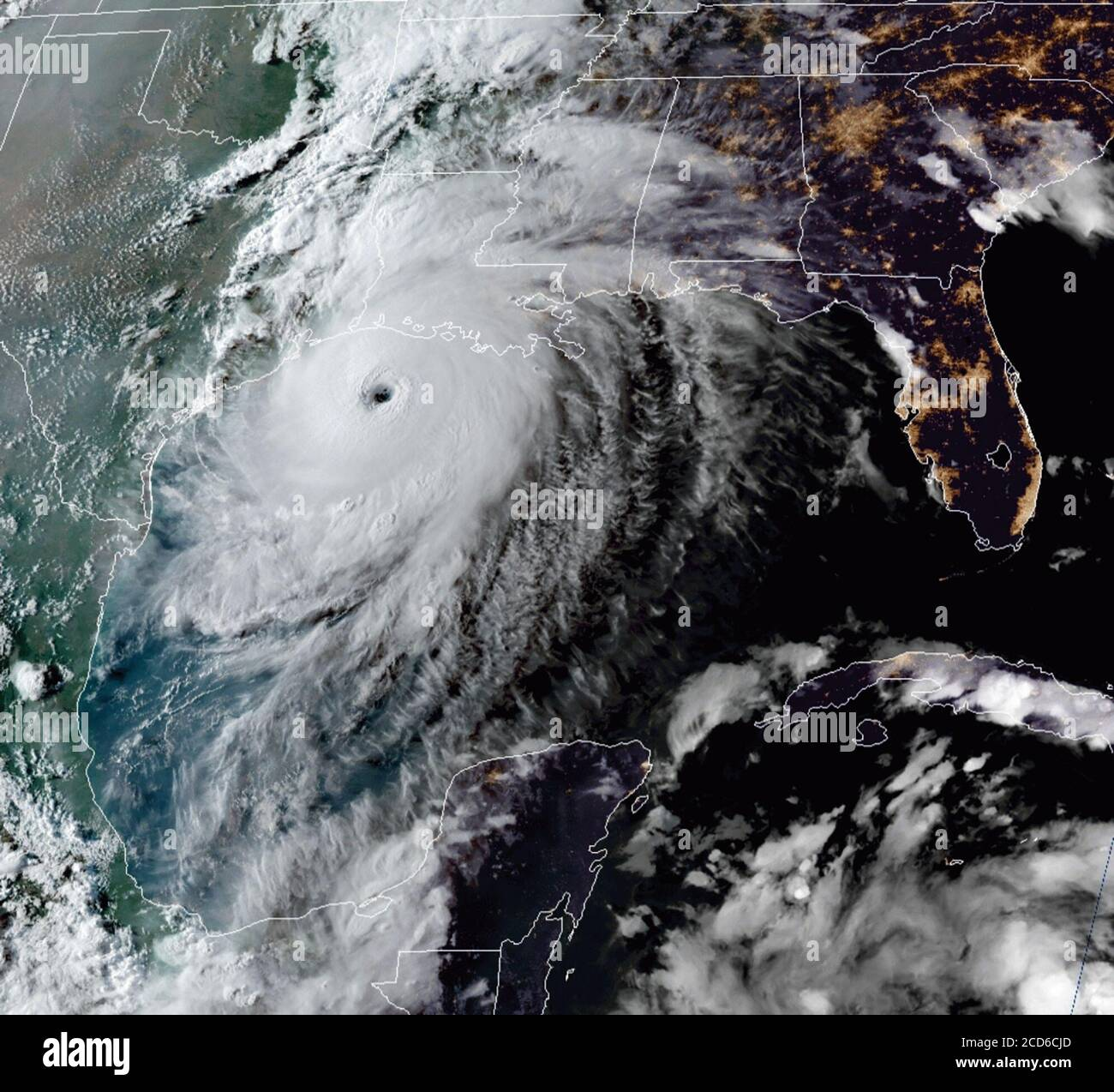 Hurricane Laura at category 4 storming toward the Texas and Louisiana coastline as evening falls in the Gulf of Mexico on August 26, 2020. (USA) Stock Photo
