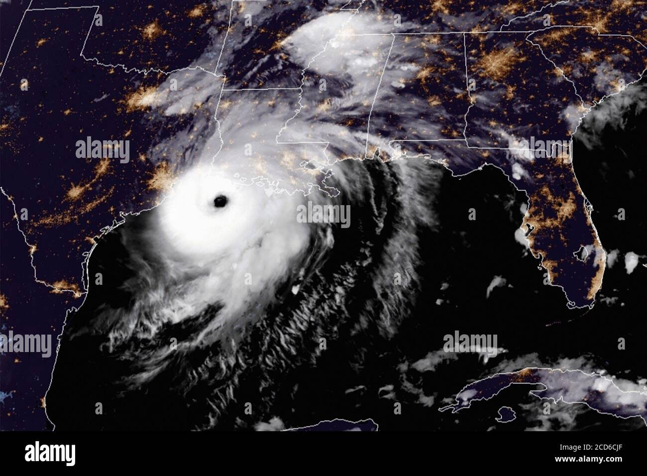 Hurricane Laura at category 4 storming toward the Texas and Louisiana coastline on the Gulf of Mexico, August 26, 2020. (USA) Stock Photo