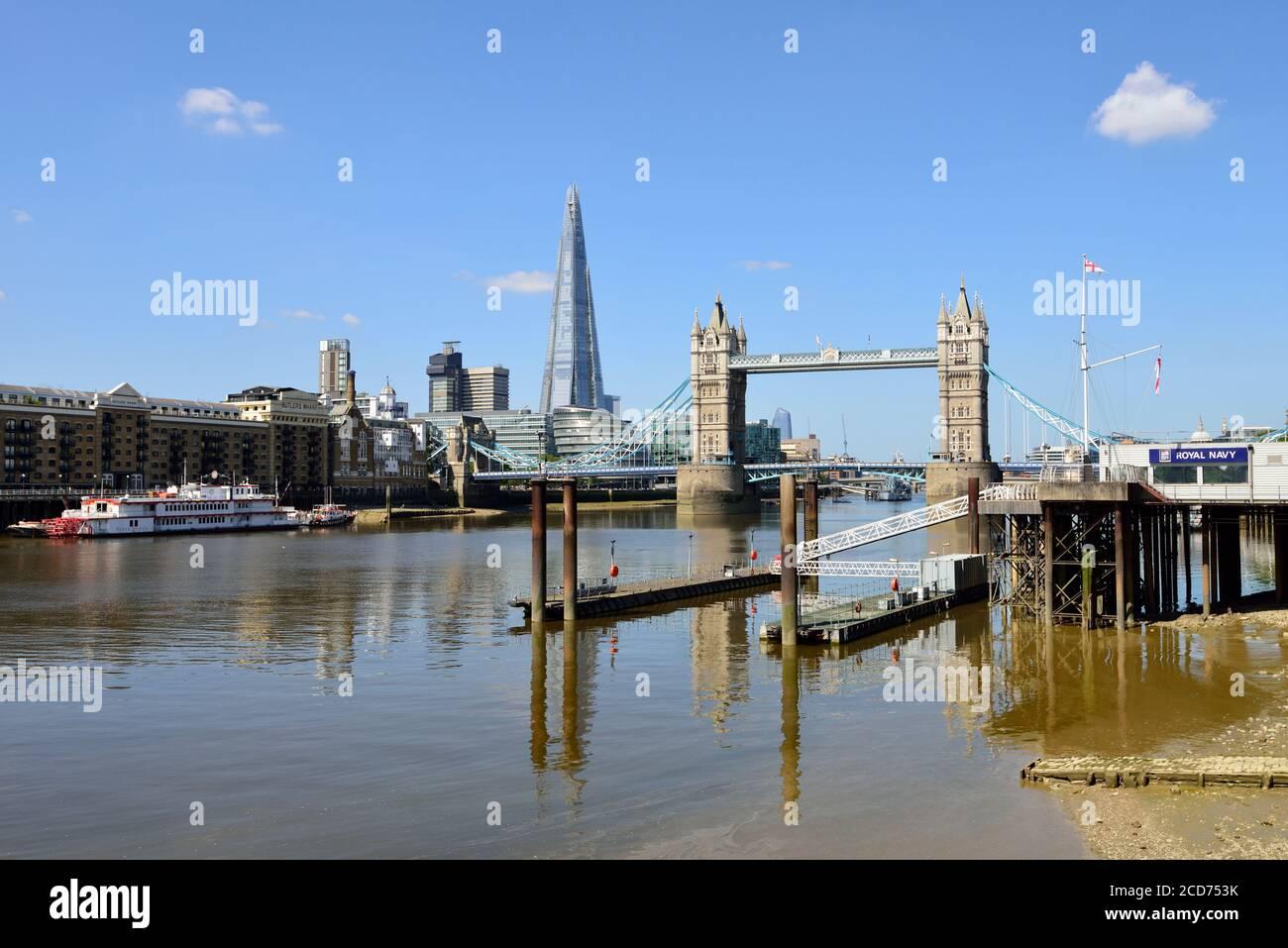 Pool of London, Tower Bridge, Shard of Glass and HMS President Naval Base, London, United Kingdom Stock Photo