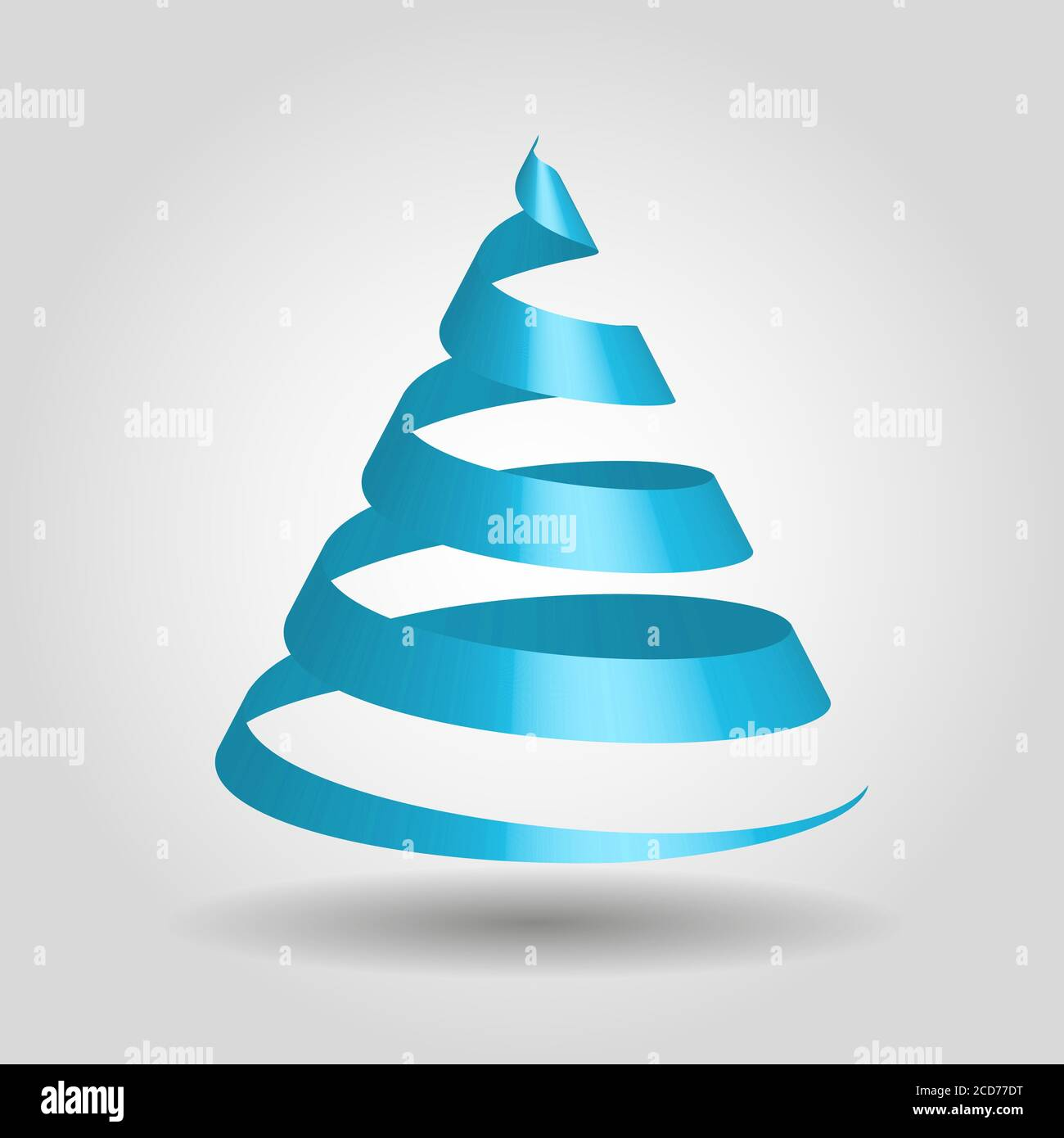 Simple Blue Ribbon In A Shape Of Christmas Tree Modern And Elegant Merry Christmas Theme 3d Vector Illustration With Dropped Shadow And Gradient Background Stock Vector Image Art Alamy