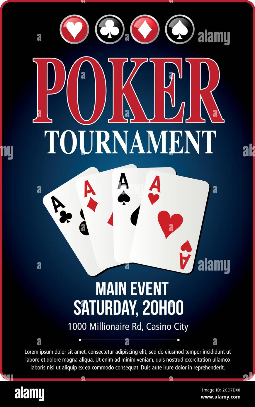 Casino Poker Tournament Poster Background Blue Template Design In Vector With Layer And Text Outlined Stock Vector Image Art Alamy