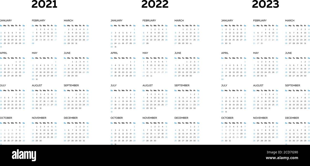 Monthly Calendar 2022 2023.The 2021 2022 2023 Calendar Template With Vertical Monthly Columns Stock Vector Image Art Alamy