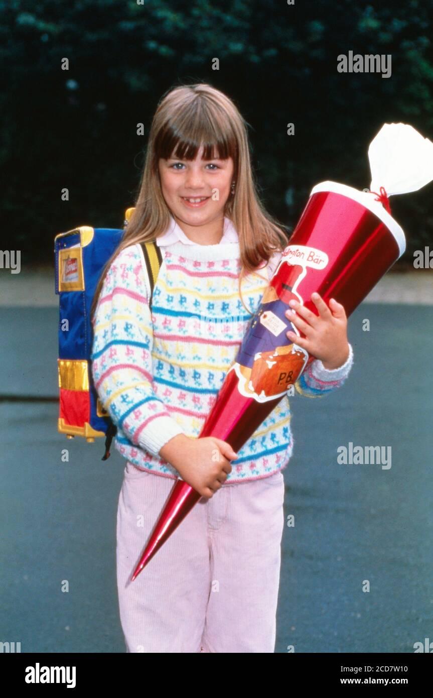 Bildreportage: Linn Westedt an ihrem ersten Schultag. Stock Photo