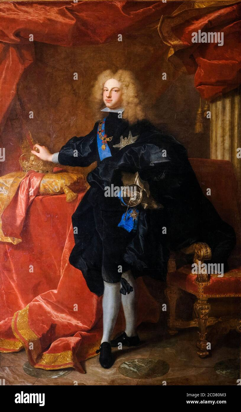 King Philip V of Spain (1683-1746), portrait painting by Hyacinthe Rigaud, 1701 Stock Photo
