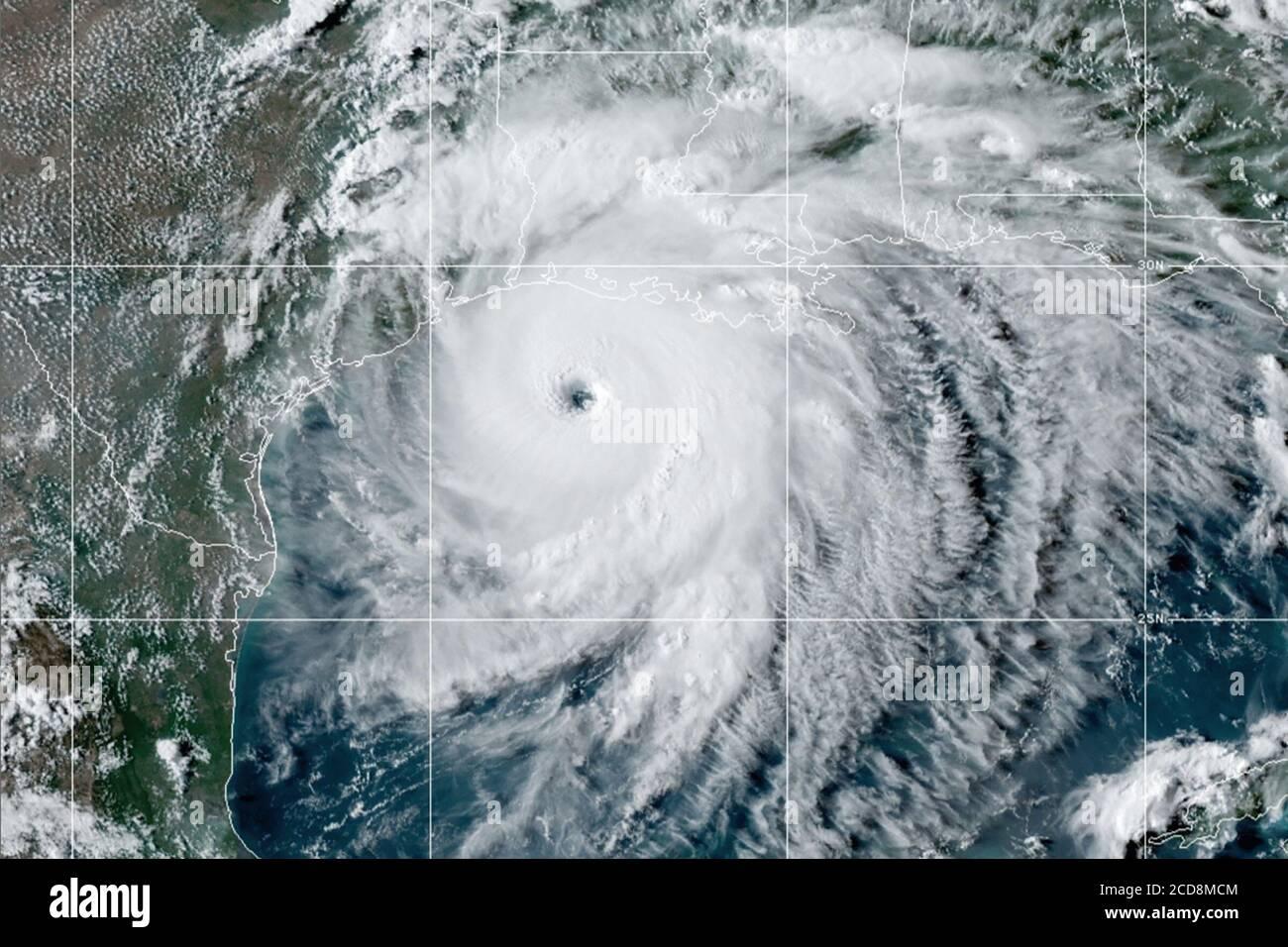 Hurricane Laura in the Gulf of Mexico approaching Cameron, Louisiana as a powerful category 4 hurricane. (USA) Stock Photo