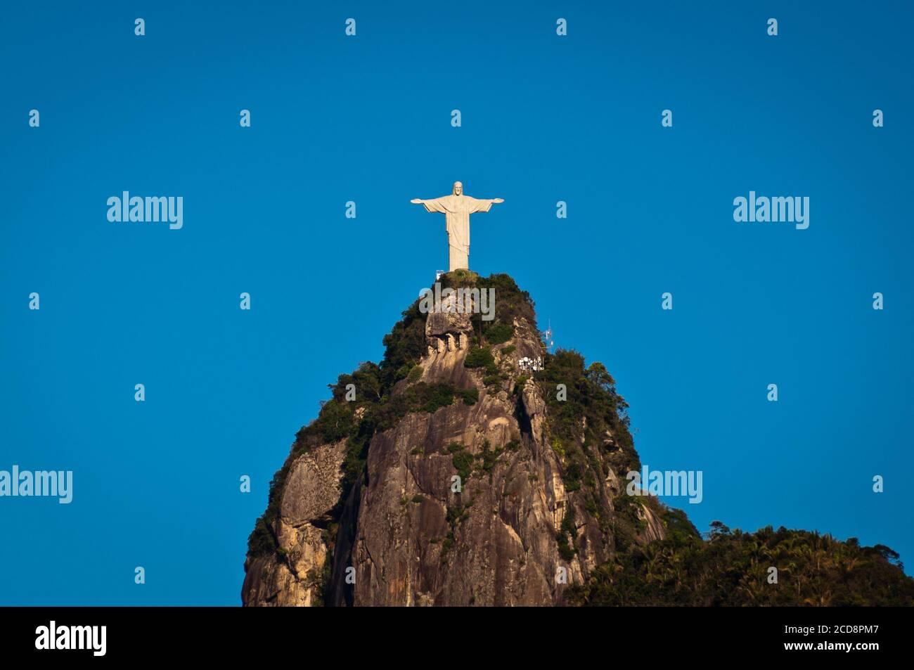 The famous landmark of Rio de Janeiro - Christ the Redeemer statue on the Corcovado mountain Stock Photo