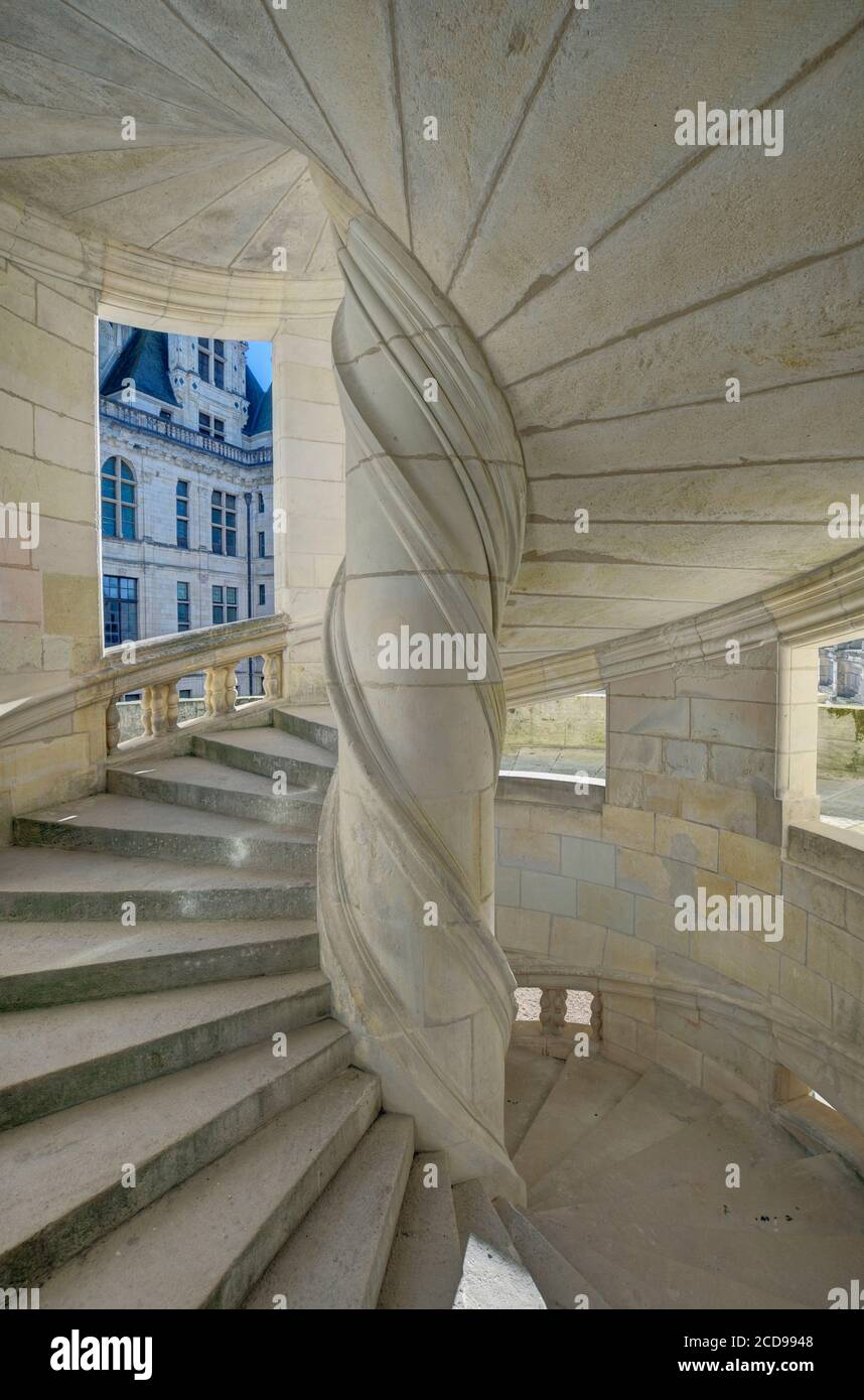France, Loir-et-Cher, Loire valley listed as World Heritage by UNESCO, castle of Chambord, the staircase of the chapel's wing Stock Photo