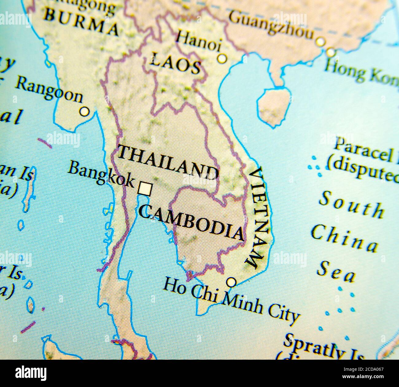 Picture of: Geographic Map Of Thailand Burma Cambodia Vietnam And Laos Country With Important Cities Stock Photo Alamy