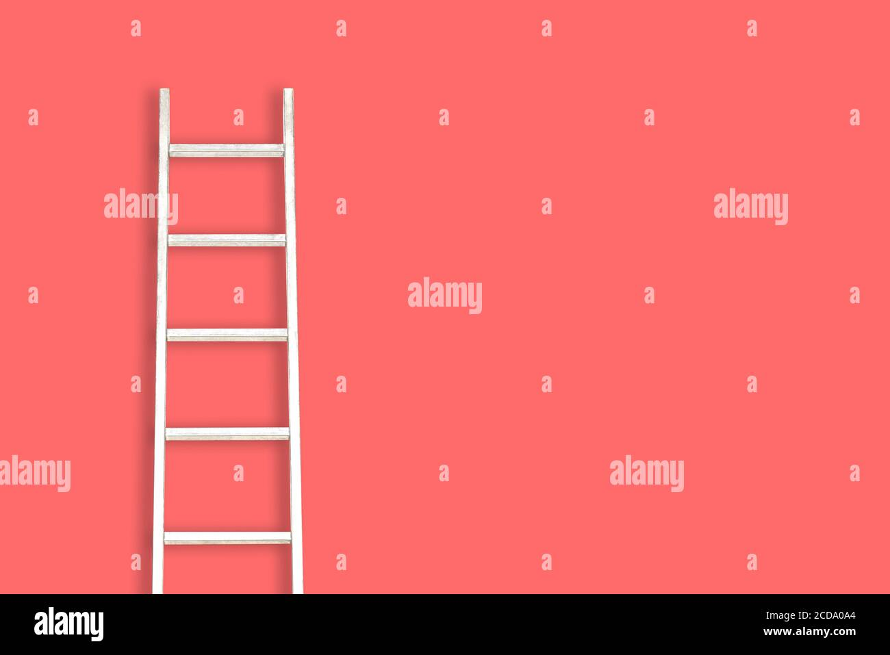 White staircase on a red background with a copy of the space. Minimal style. The concept of motivation, construction and repair. Stock Photo