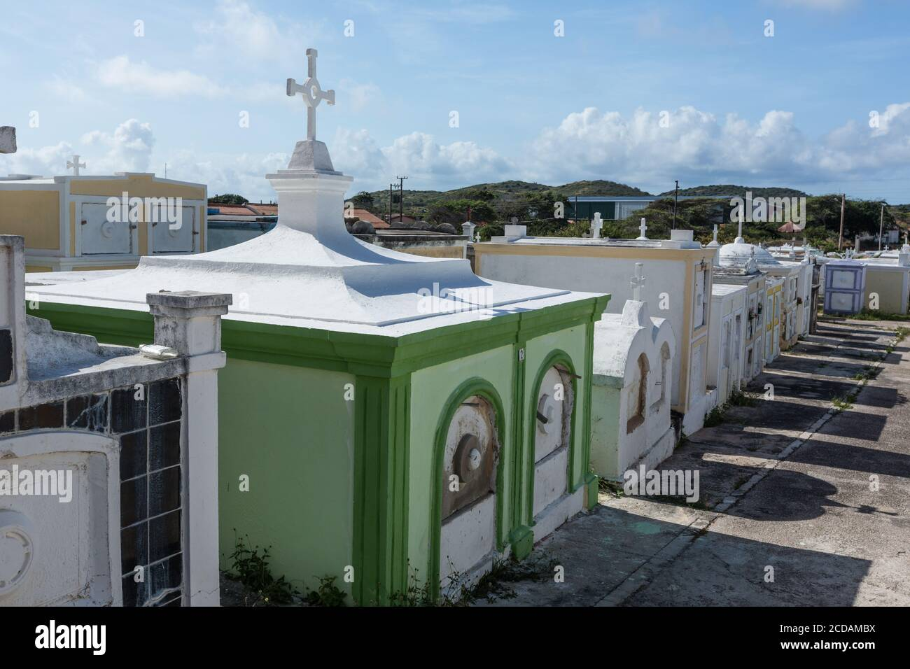 The cemetery of Saint Joseph's Catholic Church, a parish church in the town of Barber on the Caribbean island of Curacao in the Netherlands Antilles. Stock Photo