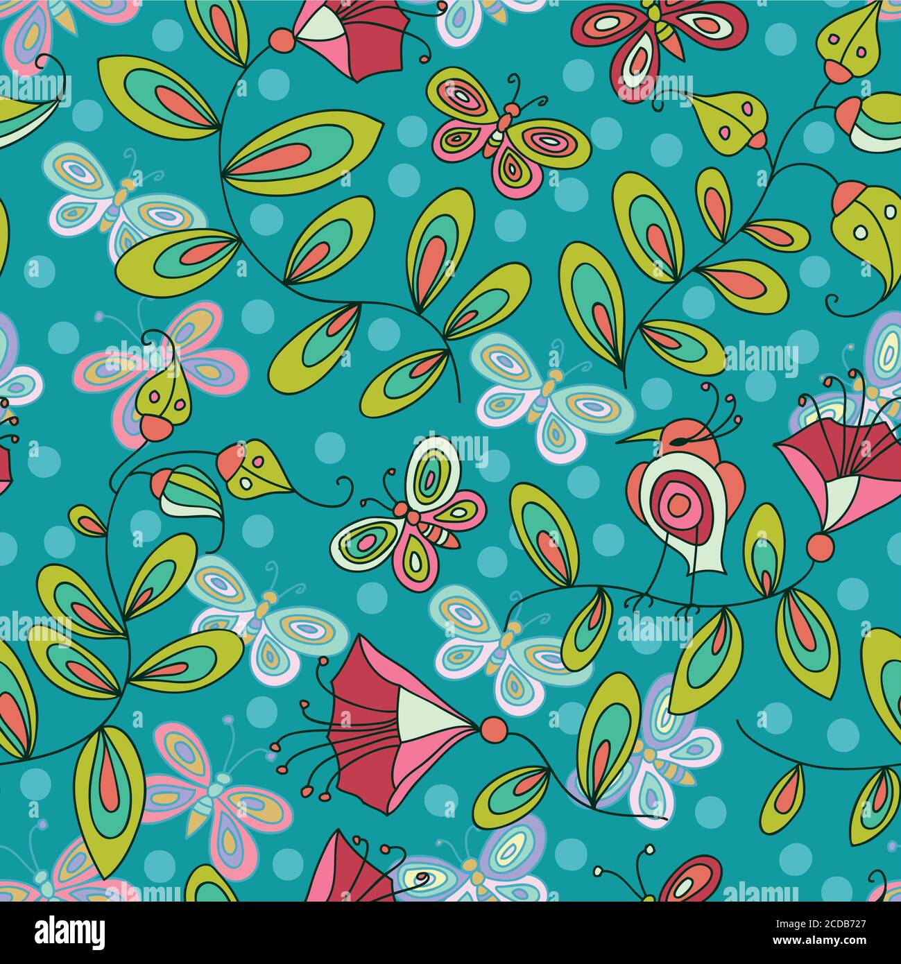 Cute seamless pattern with flowers birds and butterflies Stock Vector