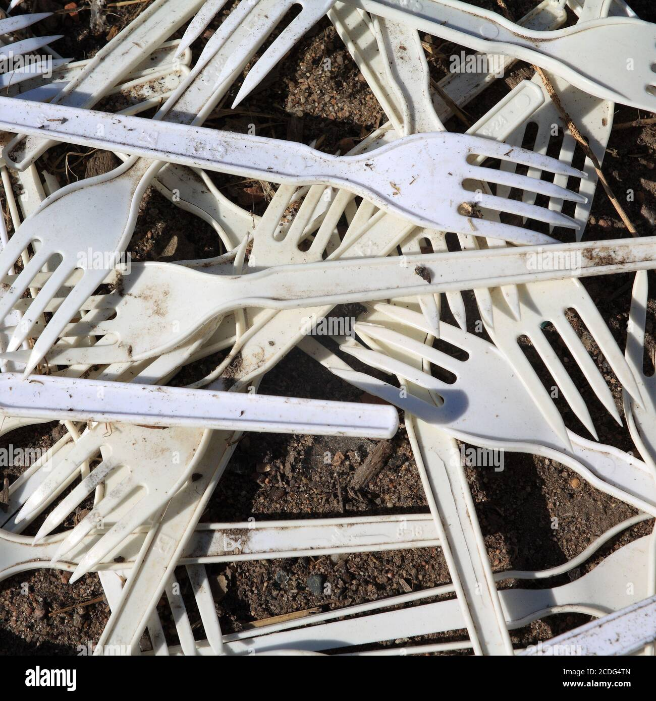 old plastic forks Stock Photo