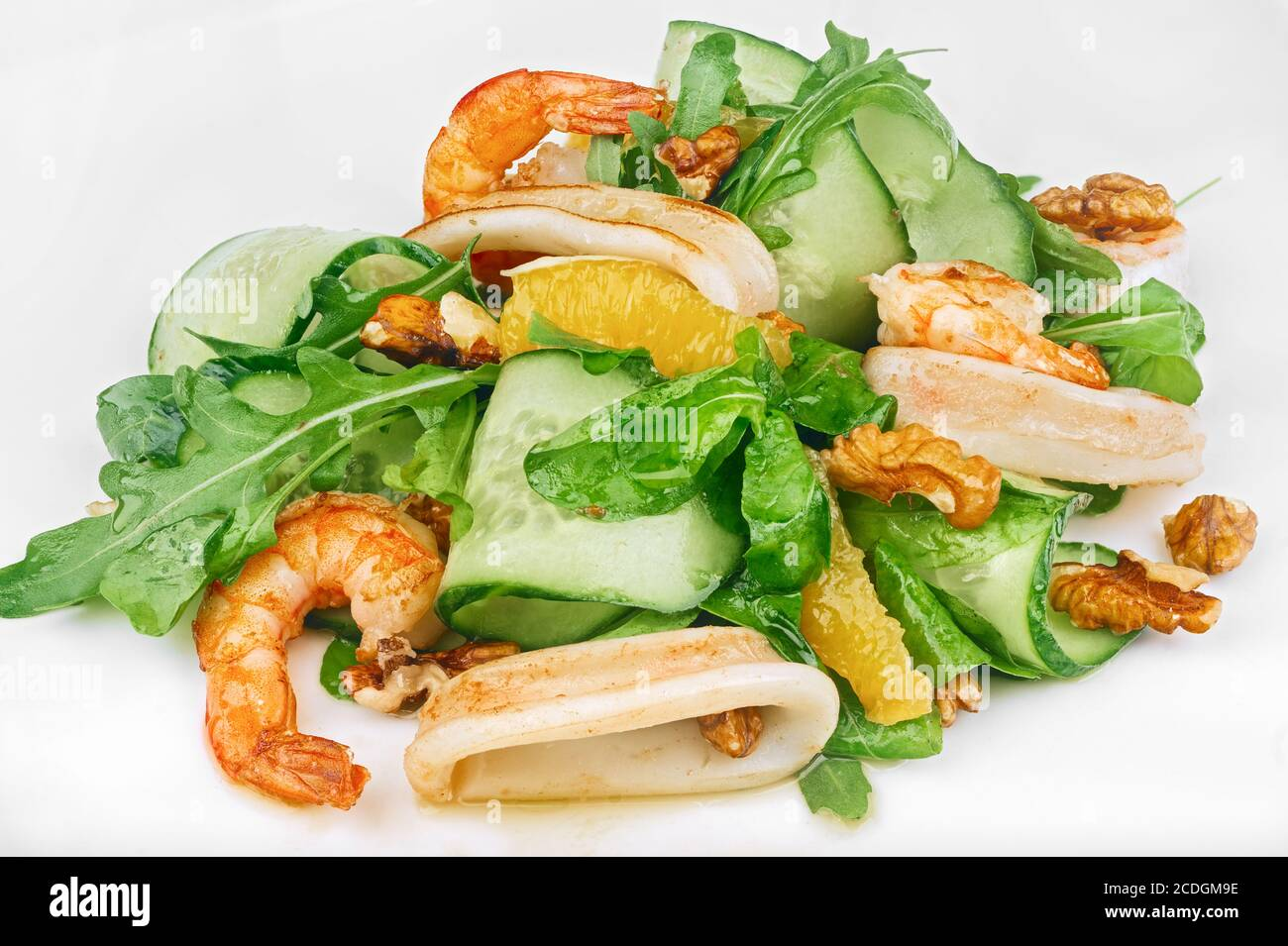 Vegetarian raw seafood green salad with ...